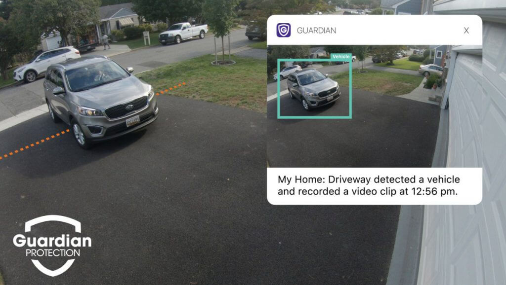 Car detected pulling into driveway on a security camera.